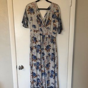 Long floral dress with shorts under